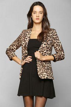 Glamorous Leopard Open-Front Blazer #urbanoutfitters