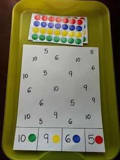 Number matching with dot stickers