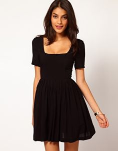 Where else can I get this dress?  ASOS+Skater+Dress+With+Square+Neck