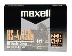 Maxell HS-4/150S 20/40GB DAT 4MM 150M Data Cartridge, 1 Pack by Maxell. $7.69. From the Manufacturer                 Maxell has developed an advanced data cartridges for high-capacity data storage. This is a single pack of Maxell's HS4/120s 4mm Data Cartridges, which have a capacity of 20 (native)/ 40 (compressed) GB, and a tape length of 120 meters. Maxell has developed these cartridges especially for high-capacity data storage and library applications. A patented ceramic coati...