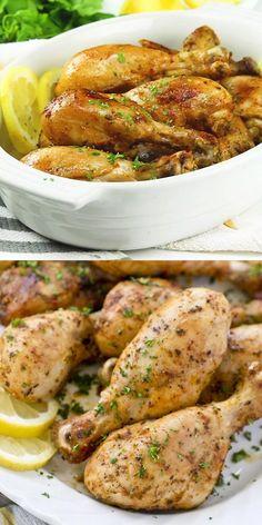 Lemon Garlic Chicken, Roasted Garlic, Lemon Chicken Drumsticks, Cooking Recipes, Healthy Recipes, Snacks Recipes, Baked Chicken Recipes, Chicken Drumstick Recipes, Healthy Cooking Recipes