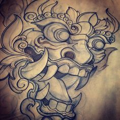 Working on something special. I love drawing masks. Foo Dog Tattoo, Et Tattoo, Demon Tattoo, Mask Tattoo, Samurai Tattoo, Asian Tattoos, Love Tattoos, Body Art Tattoos, Japanese Tattoo Art
