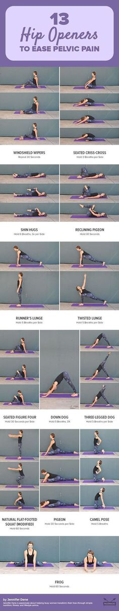Easy Yoga Workout - Are your tight hips putting a cramp in your lifestyle? Tight hips can lead to back pain and sciatica and prevent you from doing activities that you enjoy. Try these 13 feel-good hip openers to loosen those muscles today. Get the worko Fitness Workouts, Fitness Del Yoga, Hip Workout, Easy Workouts, At Home Workouts, Fitness Tips, Fitness Goals, Health Fitness, Workout Routines
