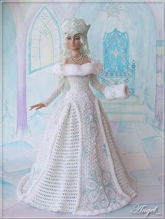 Фотография Barbie Bridal, Barbie Wedding Dress, Barbie Gowns, Barbie Dress, Barbie Doll, Crochet Doll Dress, Crochet Barbie Clothes, Habit Barbie, Crochet Wedding