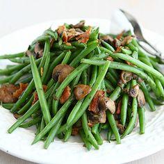 Fresh Green Beans with Bacon, Mushrooms & Herbs  http://www.cookincanuck.com/2012/11/fresh-green-beans-bacon-mushrooms-recipe/