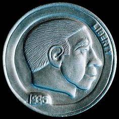 DAVE BOULAY HOBO NICKEL - 1936 BUFFALO PROFILE Hobo Nickel, Buffalo, Classic Style, Cactus, Coins, Auction, Carving, Profile, Art