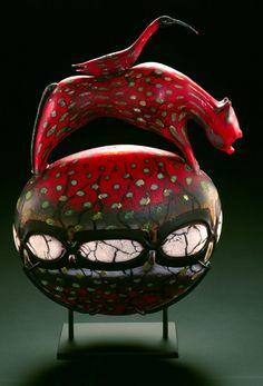 "William Morris: 'Rhyton Vessel'1998.  25""x16""x6"". Blown glass  Photo: Rob Vinnedge"
