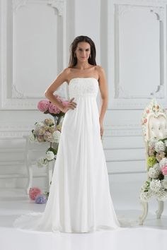 Sheath/Column Strapless Satin Chiffon Court Train Appliques Wedding Dress