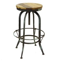This Rustic Provincial Bar Stool Vintage Steel Swivel offers an eclectic style that will help to make any space distinctive. Although it has a nostalgic appeal, it also has the edginess needed to accentuate an industrial setting. The base of the stool is made of black powdercoated steel and has a foot rest that circles the four legs. The wooden seat offers a rustic woodgrain.