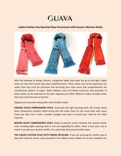 Buy Online Women stoles from Goguava  Ladies Fashion Has Reached New Paramount with Guava's Women Stoles