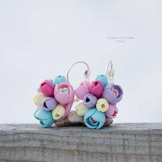Náušnice - Pastelové kvety - zatvárateľné kvietkové náušnice - 5087513_