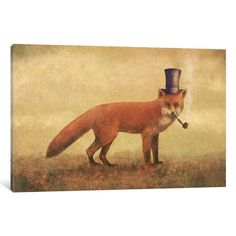 iCanvas Crazy Like A Fox Gallery Wrapped Canvas Art Print by Terry Fan Fox Painting, Texture Painting, Painting Prints, Canvas Artwork, Canvas Art Prints, Canvas Paintings, Animal Paintings, Art Fox, Terry Fan