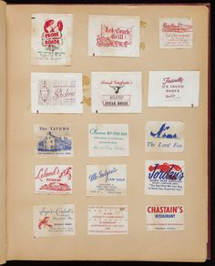 Sugar packet scrapbook   Scrapbooks collection (MS004) -- Historic New England