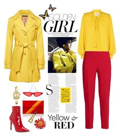 """Red & Yellow"" by shortyluv718 ❤ liked on Polyvore featuring Murphy, Tomasini, Karl Lagerfeld, Christian Dior, Jessica Simpson, Maison Margiela, Antonio Berardi and Salvatore Ferragamo"