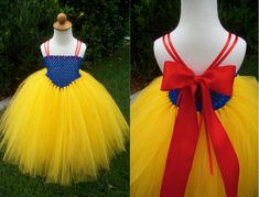 Snow White Tulle Tutu Costume Dress by JustaLittleSassShop on Etsy