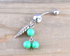 Dream catcher Belly Button Rings,Navel Jewlery, leaf belly button ring,green bead, summer jewelry on Etsy, $5.99