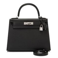 2514acad7bc1 Hermes HSS Black and Etain Epsom Kelly 28cm Brushed Palladium Hardware
