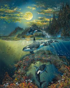 Orca Ocean Souls by Robert Lyn Nelson ~ under the sea art