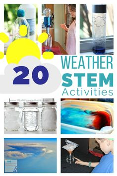 20 Weather STEM Activities - The Homeschool Scientist A roundup of 20 Weather STEM activities that kids will love! A great way to add some STEM to a weather unit this spring! Weather Experiments, Weather Science, Weather Unit, Weather And Climate, Science For Kids, Science Experiments, Earth Science, Science Fun, Severe Weather