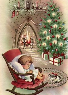 I love vintage Christmas cards! This is a selection of 30 of the best vintage and mid-century Christmas images, plus links to more, to print and decorate for the holidays. Vintage Christmas Images, Old Fashioned Christmas, Christmas Scenes, Christmas Past, Retro Christmas, Vintage Holiday, Christmas Pictures, Christmas Crafts, Homemade Christmas
