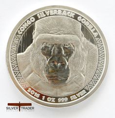 This 2016 Congo Silverback Gorilla 1 ounce bullion coin is the second coin of a series released by the Scottsdale Mint for the Republic of Congo