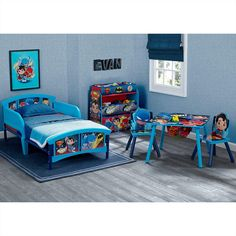 Delta Children Dc Super Friends Plastic Toddler Bed In Blue Kids Table And Chairs, Kid Table, Table And Chair Sets, Storage Design, Toy Storage, Cool Toddler Beds, Boy Toddler, Toddler Stuff, Toddler Platform Bed