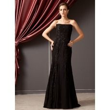 [US$ 168.99] Trumpet/Mermaid Strapless Floor-Length Chiffon Evening Dress With Lace Beading Sequins (008014247)