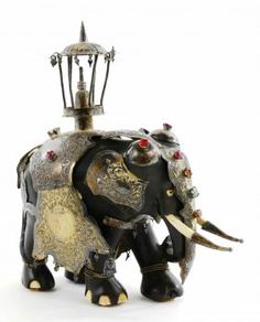 Antique Elephant With Gemstones