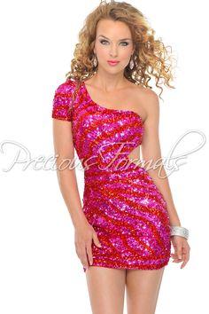 Precious Formals P8871 Fuchsia/Red One Shoulder Short Dress