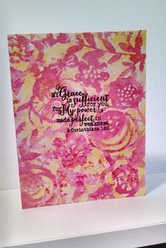 Hand made card by MeganBeth using the 2 Corinthians 12:9 plain jane stamp from Verve. #vervestamps #faithstamping