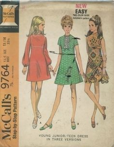 An unused ca. 1969 McCall's Pattern 9764.  High waisted dress, with or without long or short set-in sleeves, has faced and interfaced neck and center back zipper. skirt is sewn to dart fitted front and back bodice. Dress with long sleeves, gathered at wrists by elastic in casings, is trimmed with soutache braid. Short sleeved dress has ribbon threaded beaded eyelet ruffling sewn down front bodice. Sleeveless dress has faced armholes and faced band collar included in neck facing seam.