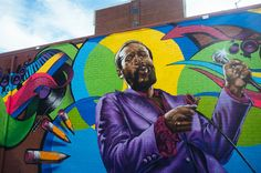Marvin Gaye mural art in D.C. by Aniekan Oudofia [located at 7th and S Streets NW]