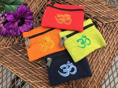 Om Symbol Cotton Coin Bags by OpalMoonTreasures on Etsy