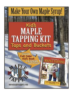Kids Maple Tree Tapping Kit - Bucket & Spiles Kit - fun and Educational Maple Sugaring Kit. A great back to nature holiday gift for kids. Get them outside and learning while having fun.