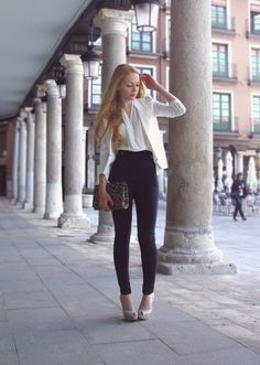 high-waisted pants of my dreams...I love the sheer top combo..so feminine! :)