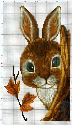 Rabbit with leaves Cross Stitch Chart Cross Stitch Bird, Beaded Cross Stitch, Cross Stitch Animals, Cross Stitch Charts, Cross Stitch Designs, Cross Stitching, Cross Stitch Embroidery, Embroidery Patterns, Hand Embroidery