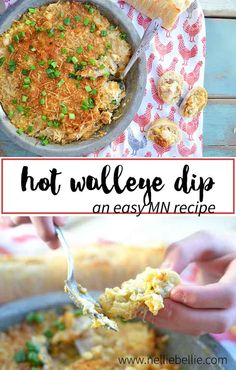 A Minnesota recipe. this hot walleye dip is cheesy, gooey, and delicious! A great appetizer for the big game or your next party. No walleye? Sub your favorite white fish, instead. Dip Recipes, Cooking Recipes, Cooking Games, Game Recipes, Seafood Recipes, Keto Recipes, Recipies, Great Appetizers, Appetizer Recipes