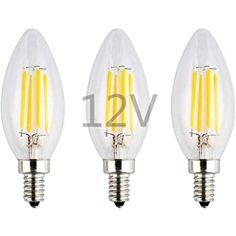 12 Volt Warm White 3000k 12v E12 LED Bulb Tento Lighting 12 Volt 5w Candle Lamp Low Voltage AC DC 12V 450LM Low Voltage Candelabra Base Bulbs RV Lighting Cabins Chandeliers Wall Scones