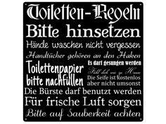 Blechschild TOlLETTEN REGELN Dekoschild METALL von Interluxe via dawanda.com Bad, Letter Board, Shabby, Etsy, Vintage, Lifestyle, Decoration, Canvas, Ideas