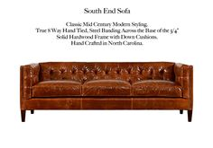 The South End by Casco Bay Furniture Casco Bay, Classic Sofa, Chesterfield Sofa, Leather Furniture, Mid-century Modern, Mid Century, Cushions, Cabin, Crafts