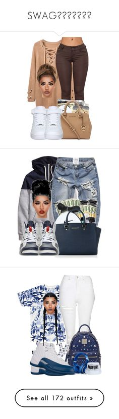"""SWAG"" by tearalashe-1 ❤ liked on Polyvore featuring Ray-Ban, NIKE, Lime Crime, Michael Kors, Retrò, Topshop, MCM, Beats by Dr. Dre, HUF and Casetify"