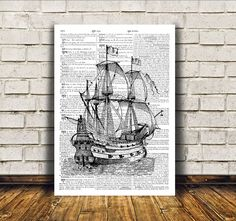 Modern decor Ship poster Nautical art Dictionary by OneDictionary