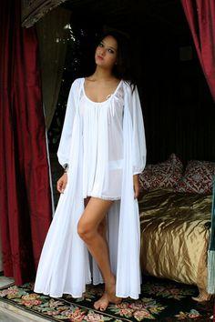 65e87035cdd Bridal Lingerie Robe Wedding White Nylon Peignoir Peasant Sleeve Full Sweep  Tie Front Dressing Gown Wedding