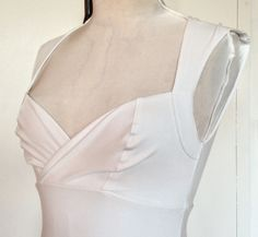 White wiggle dress sweetheart neckline trumpet flair by mclaineo, $175.00