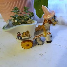 Mexican pottery Colorful Mexican planter donkey pulling cart air fern planter southwest decor kitsch decor indoor planter