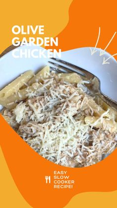 This slow cooker olive garden chicken with pasta recipe is a must-try! It's an easy weeknight dinner that's perfect for fall. Best Pasta Recipes, Lunch Recipes, Easy Dinner Recipes, Easy Weeknight Dinners, Frugal Meals, Easy Meals, Chicken Flavors, Chicken Recipes, Slow Cooker Recipes