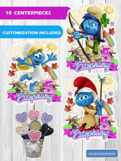 10 Smurfs Lost Village Centerpieces  download Instantaneous