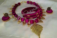 Leaf design . Silk Thread Bangles Design, Silk Thread Necklace, Silk Bangles, Beaded Necklace Patterns, Thread Jewellery, Temple Jewellery, Beaded Jewelry, Handmade Jewelry, Terracota Jewellery