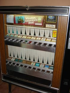 cigarette machine-I remember parents sending kids to the machine to get cigarettes for them. It was eventually outlawed for under 16 year olds to use the machine.