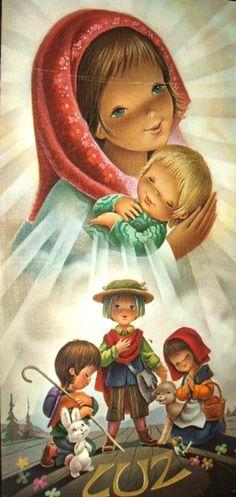 Oracion A San Antonio, Clipart Noel, Catholic Kids, O Holy Night, Virgin Mary, Fabric Painting, Big Eyes, Science Fiction, Art For Kids